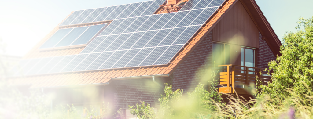 solar panels on a roof with battery storage